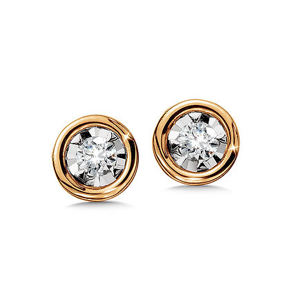Bezeled Diamond Star Solitaire Stud Earrings