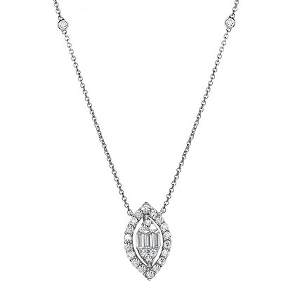 MARQUISE-SHAPED CLUSTER DIAMOND NECKLACE