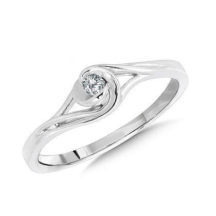 10K White Gold Spiral Bypass Diamond Promise Ring