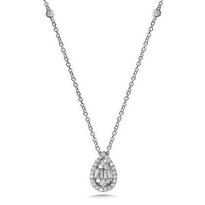 PEAR-SHAPED CLUSTER DIAMOND NECKLACE