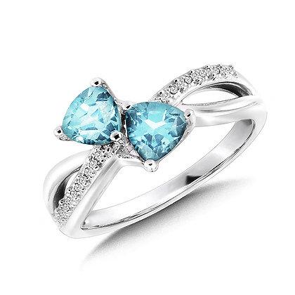 Trillion-Cut  Blue Topaz and Diamond Criss-Cross Ring