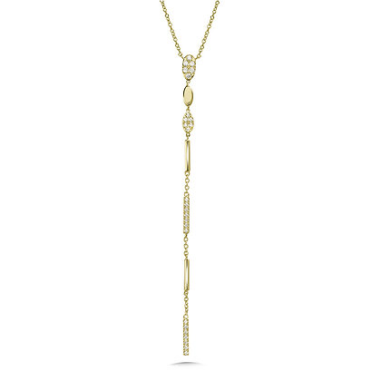 DANGLING OVAL & BAR DIAMOND NECKLACE