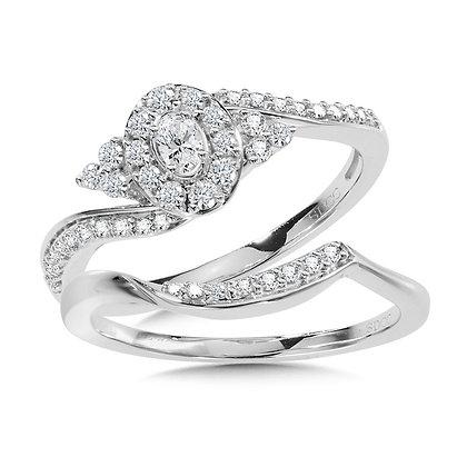 Oval Halo Diamond Bypass Engagement Ring and Wedding Band Bridal Set