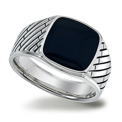 Men's Onyx Herringbone Silver Ring