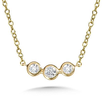 THREE-STONE BEZEL DIAMOND NECKLACE
