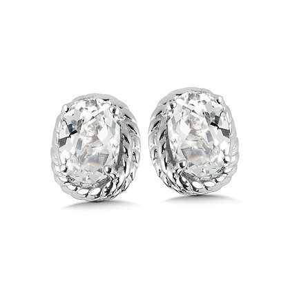 Created White Sapphire Earrings in Sterling Silver