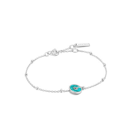 Silver Turquoise Disc Bracelet