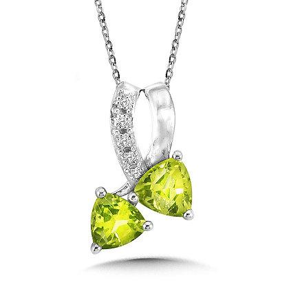 Trillion-Cut Peridot and Diamond Bypass Pendant