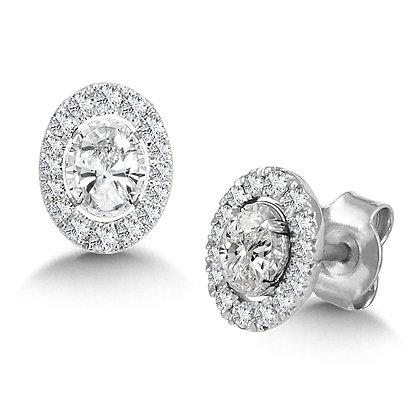 Diamond Star Oval Earrings