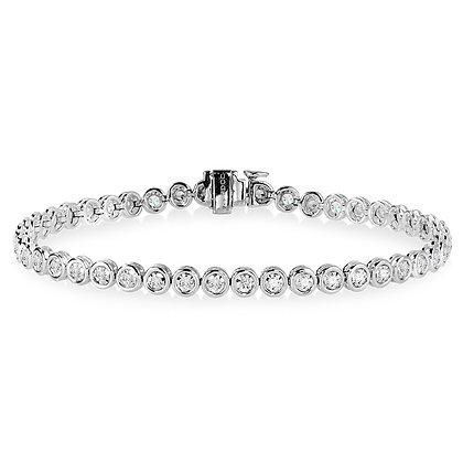 14K Bezeled Diamond Star Tennis Bracelet