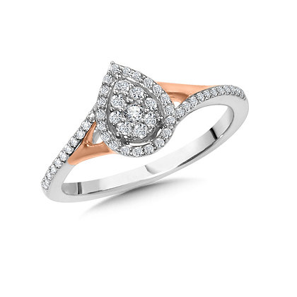 Pear-Shaped Split Shank Cluster Diamond Halo Engagement Ring