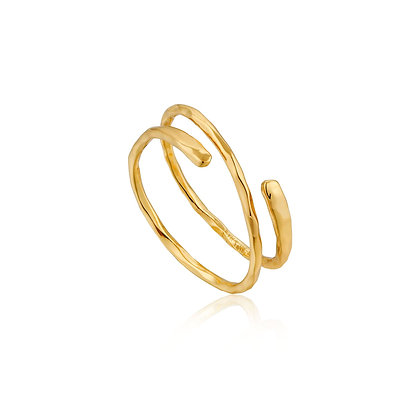 Gold Ripple Adjustable Ring