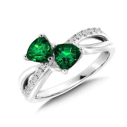 Trillion-Cut  Created Emerald and Diamond Criss-Cross Ring
