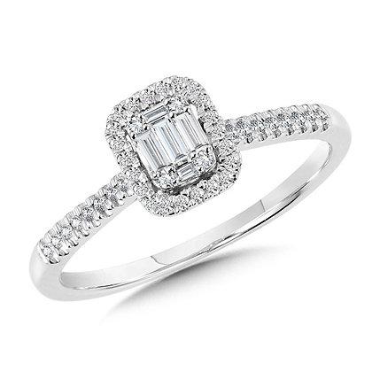 Rectangular Plumb Collection Baguette Cluster Diamond Halo Ring