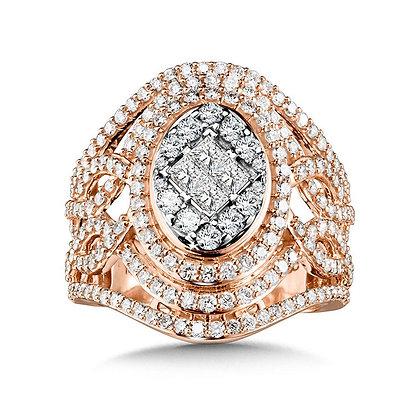 Ornate Oval Princess-Cut Cluster Diamond Statement Ring