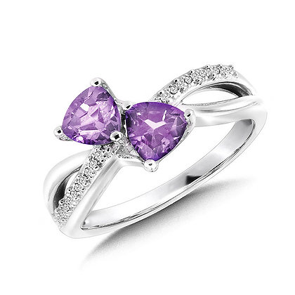 Trillion-Cut  Amethyst and Diamond Criss-Cross Ring