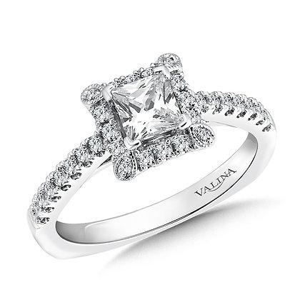 SQUARE SHAPE HALO DIAMOND ENGAGEMENT RING