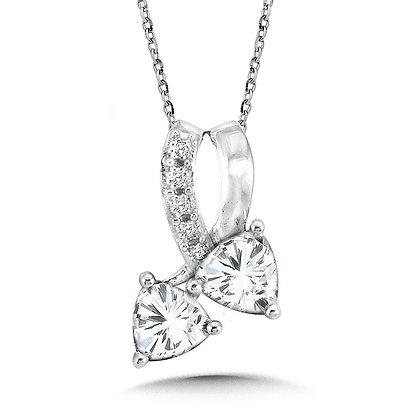 Trillion-Cut  White Topaz and Diamond Pendant