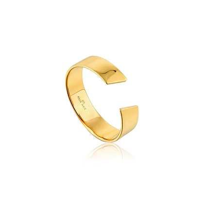 Gold Geometry Wide Adjustable Ring