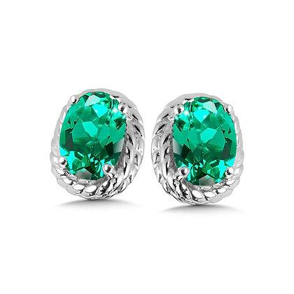 Created Emerald Earrings in Sterling Silver
