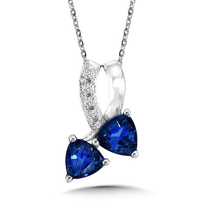 Trillion-Cut  Created Sapphire and Diamond Pendant
