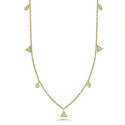 PEAR & TRIANGLE ACCENTED DIAMOND CHAIN NECKLACE