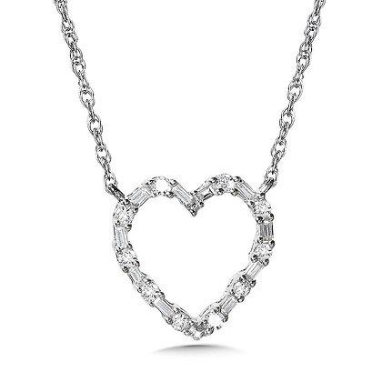 10K Prong-Set Baguette Diamond Heart Pendant