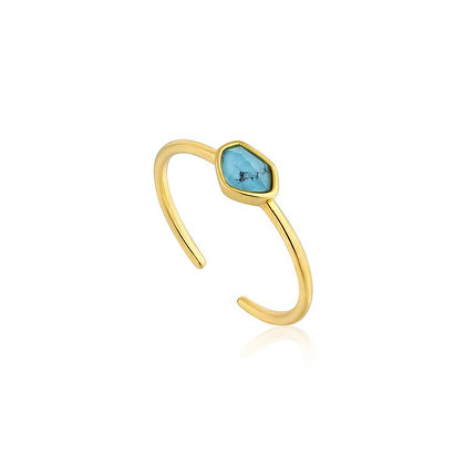 Turquoise Adjustable Gold Ring