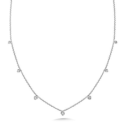 HEART ACCENTED DIAMOND CHAIN NECKLACE