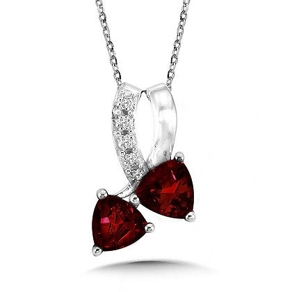 Trillion-Cut  Garnet and Diamond Pendant