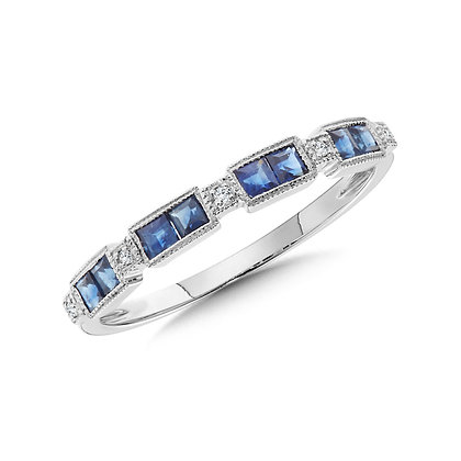 Blue Sapphire and Diamond Stackable Band