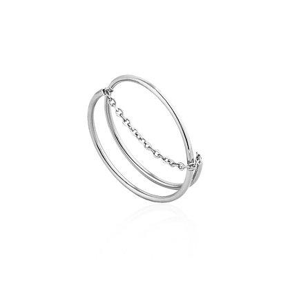 Silver Modern Twist Chain Adjustable Ring