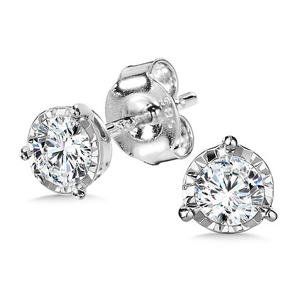 1/2 TDW 3-PRONG DIAMOND STAR STUDS