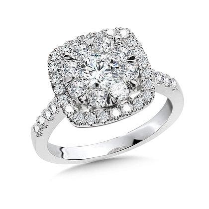 Cushion-Shaped Cluster Diamond Mirage Engagement Ring