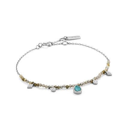 Turquoise and Labradorite Silver Bracelet