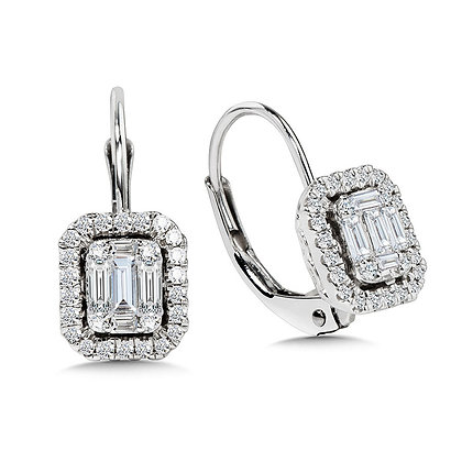 Plumb Collection Baguette and Diamond Accented Earrings