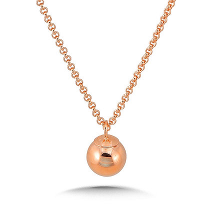 14K Rose Gold Plated Sterling Silver Dangle Ball Pendant