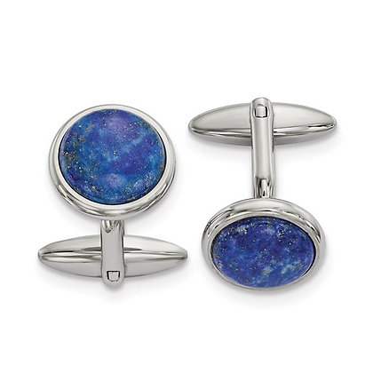 Stainless Steel Polished Lapis Cufflinks
