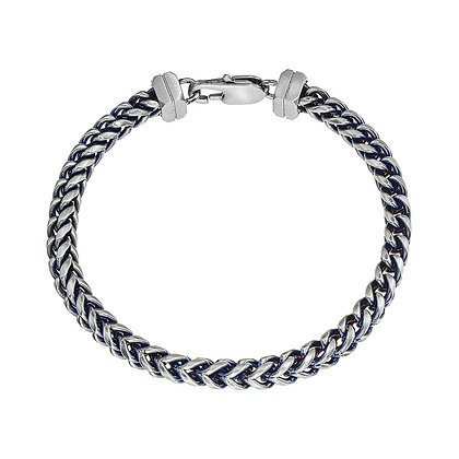 Men's Blue Steel H-Bone Chain Bracelet