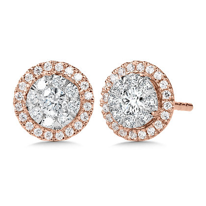 Duel-Tone Cluster Diamond Earrings
