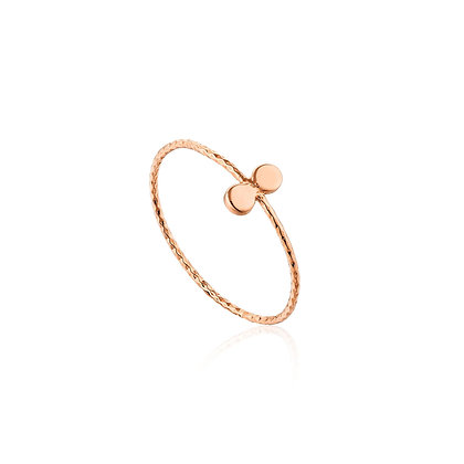 Rose Gold Texture Double Disc Ring