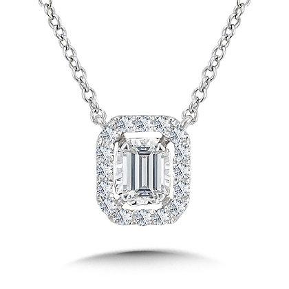 Diamond Star Emerald-Shaped Necklace