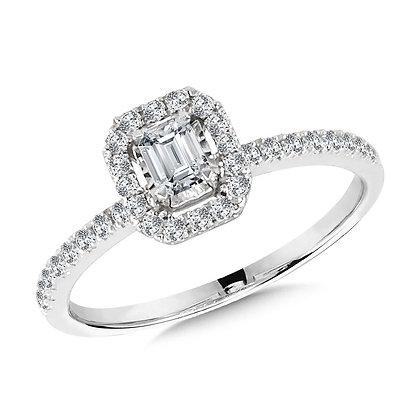 Diamond Star Emerald-Shaped Ring