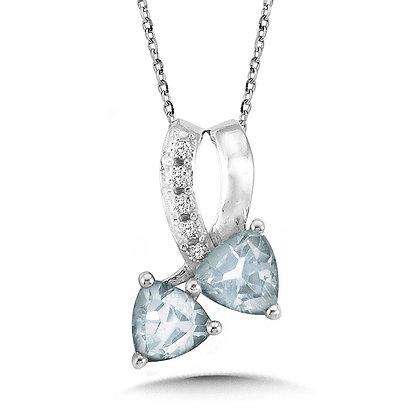Trillion-Cut Aquamarine and Diamond Bypass Pendant