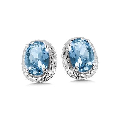 Blue Topaz Earrings in Sterling Silver