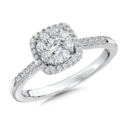 Cushion-Shaped Cluster Diamond Halo Engagement Ring