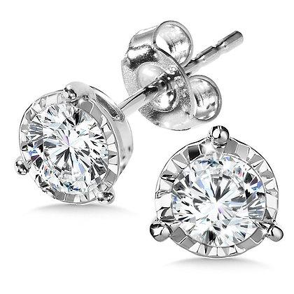 1 TDW 3-PRONG DIAMOND STAR STUDS