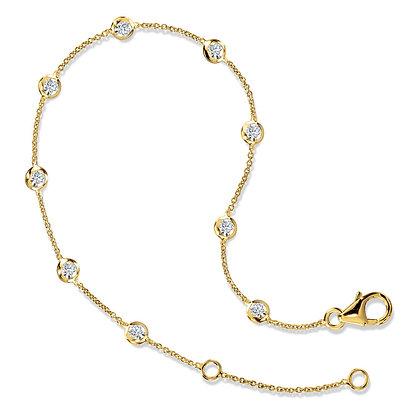 15 Inch Bezeled Diamond Link Bracelet