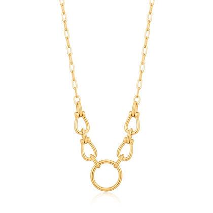 Gold Horseshoe Link Necklace