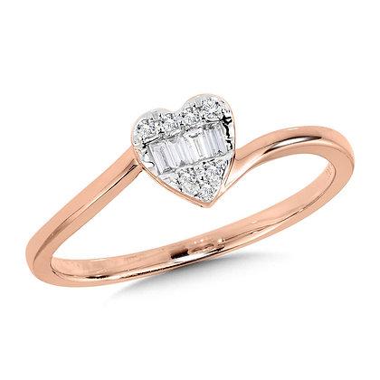 10K Diamond Bypass Heart Ring